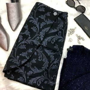 Black, Navy, and Silver Brocade Faux Wrap Skirt